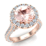 Morganite Engagement  Diamond Rings 14K Gold Halo rings for women 4.30 carat (I,I1) - Rose Gold