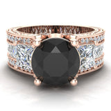 Black Diamond Engagement Rings for Women 8.00 mm 5.35 carat Past Present Future Style 14K Gold (I,I1) - Rose Gold
