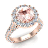 Morganite Engagement Rings 14K Gold Halo rings for women 4.15 carat (I,I1) - Rose Gold