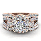 Diamond Loop Shank Cushion Shape Wedding Ring Set w/ Enhancer Bands Bridal 1.55 Carat Total Weight 14K Gold (I,I1) - Rose Gold