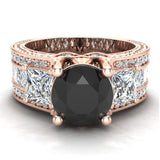 Black Diamond Engagement Rings for Women 7.30 mm 4.85 carat Past Present Future Style 14K Gold (G,SI) - Rose Gold