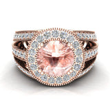 Morganite engagement rings Fashion Rings Cocktail Anniversary gifts for her 8.00 mm 3.50 carat tw (G,VS) - Rose Gold