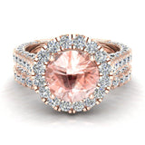 Morganite Wedding Ring Set 14K Gold Halo rings for women 7.40 mm 5.15 carat (I,I1) - Rose Gold