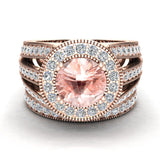Large Morganite Wedding Ring Set 14K Gold Halo rings for women 7.30 mm 3.20 carat (I,I1) - Rose Gold