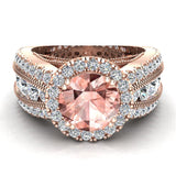 Morganite Engagement Diamond Rings 14K Gold Halo Style Channel Set Diamonds 7.30 mm (I,I1) - Rose Gold