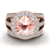 Morganite Wedding Rings Bridal Ring sets for women 14K gold Real Accented Diamond Ring 9.30 mm 4.96 carat tw (I,I1) - Rose Gold