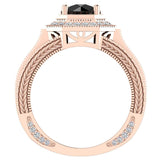 Large Black Diamond Engagement Ring 18K Gold Halo Rings for women 7.30 mm 6.35 carat (G,VS) - Rose Gold