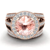 Morganite Wedding Rings Bridal Ring sets for women 18K gold Real Accented Diamond Ring 9.30 mm 4.96 carat tw (G,VS) - Rose Gold