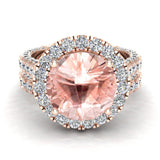 Morganite Wedding Ring Set 14K Gold Halo rings for women 9.10 mm 7.15 carat (G,SI) - Rose Gold