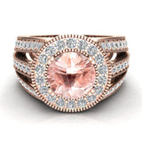 Morganite engagement rings Fashion Rings Cocktail Anniversary gifts for her 7.30 mm 2.80 carat tw (G,SI) - Rose Gold