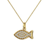 18K Gold Fish Pendant 0.27 ct tw Pave-set Diamond Charm (G,VS) - Yellow Gold