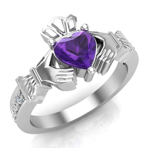 Genuine Heart Amethyst Claddagh Diamond Ring 0.62 Carat Total Weight 14K Gold - White Gold