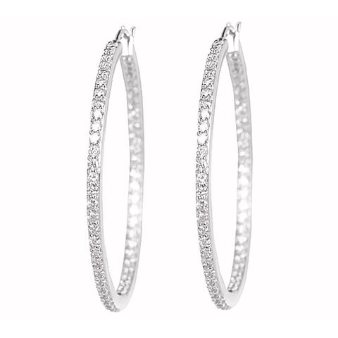 "Epiphany Platinum Clad Diamonique 1.10 cttw 1-1/2"" Hoop Earrings"