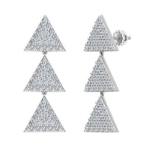 Triangle Diamond Chandelier Earrings Waterfall Style 14K Gold (G,SI) - White Gold