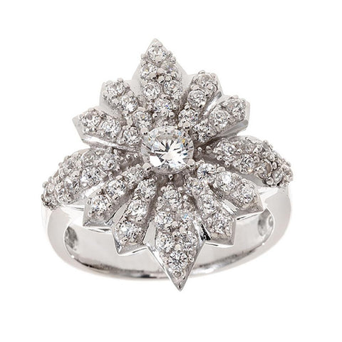 Diamonique Enlightened Sterling Empress Sisi's Star Ring