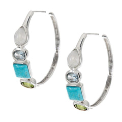Multi-Gemstone Round Sterling Hoop Earrings