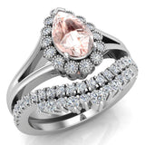 Morganite Engagement Ring - Wedding Ring Set for Women 18K Gold 8 mm Pear Shape (G, SI) - White Gold