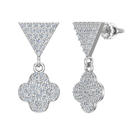 Diamond Dangle Earrings Clover Pattern Cluster Triangle Top 14K Gold 0.90 ctw (I,I1) - White Gold