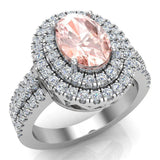 Oval Morganite Engagement Rings for Women 18K Gold Diamond Halo 2.65 carat (G,VS) - White Gold