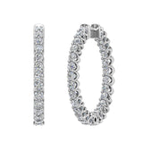 Exquisite 25.99 mm Diameter Inside Out Diamond Hoop Earrings 1.90 ctw 18K Gold Shared Prong Setting (I,I1) - White Gold