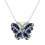 Exquisite Sapphire Butterfly Necklace 14K Gold 0.86 Ctw - White Gold