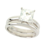 Epiphany Platinum Clad Diamonique 2.00 ct tw Princess Ring Set