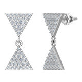 Diamond Dangle Earrings Triangle Pattern Cluster Hour-glass Look 14K Gold 0.63 ctw (G,SI) - White Gold