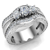 Past Present Future Diamond Wedding Ring Set 14K Gold (I,I1) - White Gold
