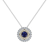 Round Cut Blue Sapphire Double Halo 2 tone necklace 14K Gold (I,I1) - Yellow Gold