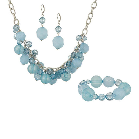 Tonal Faceted Mixed Bead Necklace, Bracelet & Earring Set