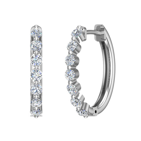 Oval Shaped Diamond Huggies Style Hoop Earrings Secure Click-in Lock Setting 14K Gold (G,SI) - White Gold