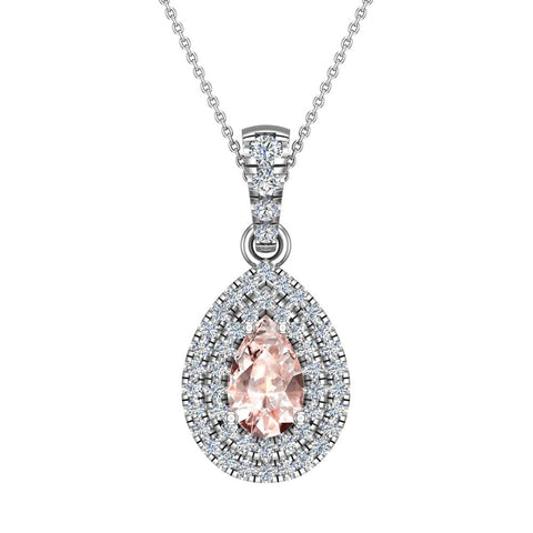 Pear Cut Pink Morganite Double Halo Diamond Necklace 14K Gold (I,I1) - White Gold