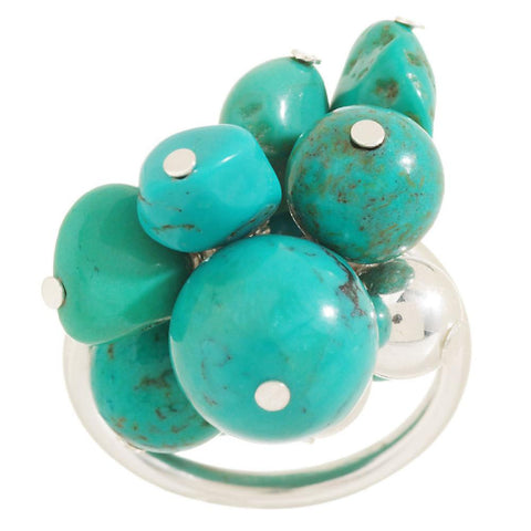 Turquoise Bead Sterling Stretch Ring