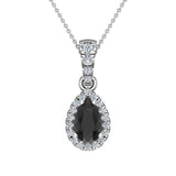 Pear Cut Black Diamond Halo Diamond Necklace 14K Gold (G,I1) - White Gold