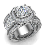 Large  Moissanite Engagement Ring 18K Gold Halo Rings for women 7.30 mm 6.35 carat (G,VS) - White Gold