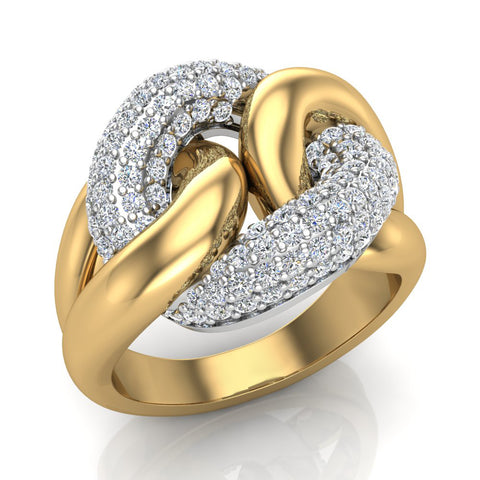Cuban link Cocktail Rings for women Diamond Rings 14K Gold 1.00 carat (I,I1) - Yellow Gold