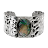 """As Is"" Honora Oval Mother-of- Pearl Doublet Avg. Stainless Steel Cuff"