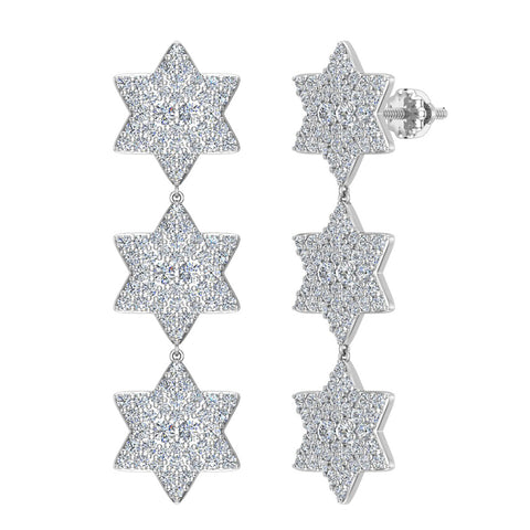 Star of David Diamond Cluster Chandelier Earrings Waterfall Style 14K Gold (G,SI) - White Gold