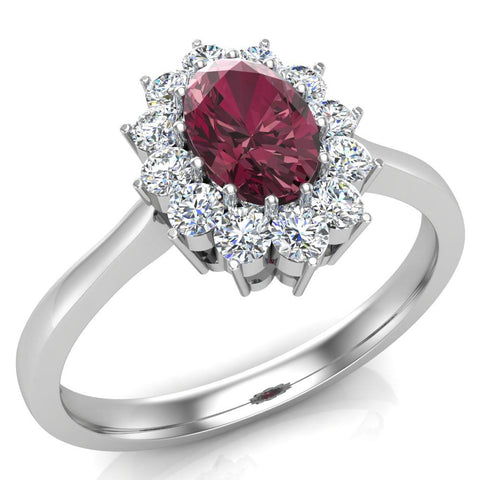 January Birthstone Garnet Oval 14K Gold Diamond Ring 0.80 ct tw - White Gold