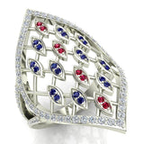 Stunning Ruby and Sapphire Marquise shaped Diamond Cocktail Ring 0.65 ctw 14K Gold (I,I1) - White Gold