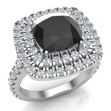 Black Diamond Cushion Cut Double Halo Diamond engagement rings for women 14K Gold 3.00 ctw (I,I1) - White Gold