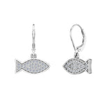 14k Fish 0.68 ct tw Pave Set Diamond Stud Earring (G,SI) - White Gold