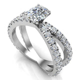 X Cross Split Shank Large Cushion Shape Diamond Engagement Ring 1.75 carat Total 18K Gold - White Gold