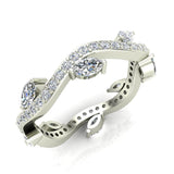 Contemporary Leaf Style Diamond Wedding Ring 0.90 ctw 18K Gold (G,SI) - White Gold