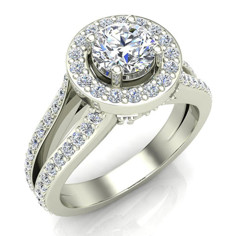 Exquisite Round Diamond Halo Split Shank Engagement Ring 1.35 ctw 14K Gold (G,I1) - White Gold