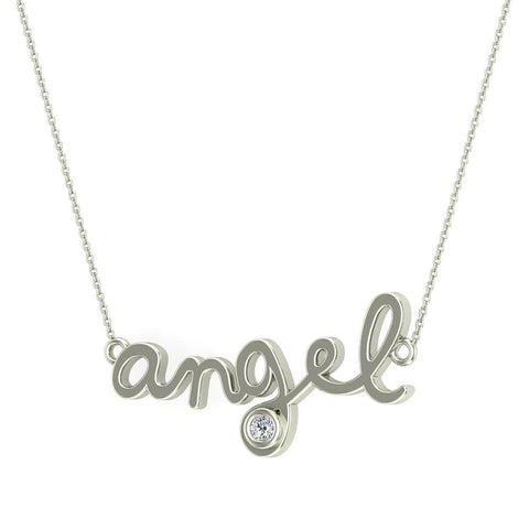 Angel Charm Necklace 14K Gold Bezel set Diamond Highlight (G,I1) - White Gold
