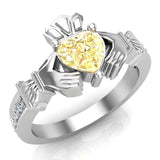 Genuine Heart Yellow Citrine Claddagh Diamond Ring 0.62 Carat Total Weight 14K Gold - White Gold