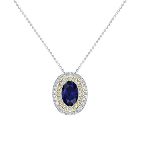 Oval Cut Blue Sapphire Double Halo 2 tone necklace 14K Gold (G,SI) - Yellow Gold