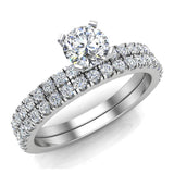 Petite Wedding Rings for women Round Cut Bridal set 14K Gold 0.90 carat (I, I1) - White Gold