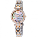 Solar Mother of Pearl Dial Two-tone Ladies Watch